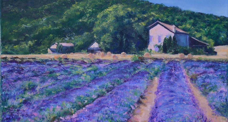 Peinture impressionniste d'un champ de lavande