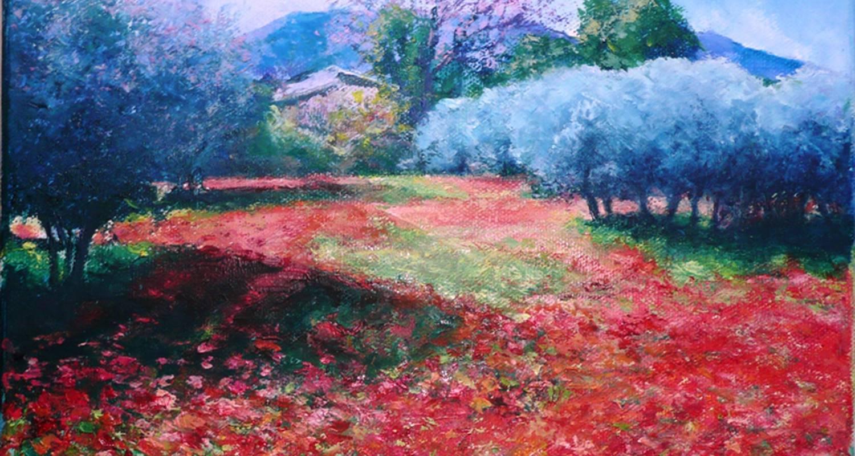 Peinture impressionniste d'un champ de coquelicots