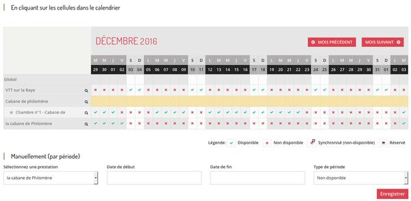 tableau / calendrier de disponibilités