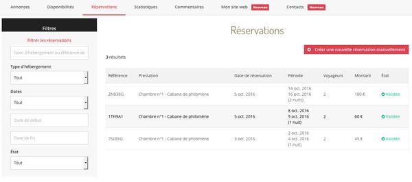 gestion des réservations sur KooKooning