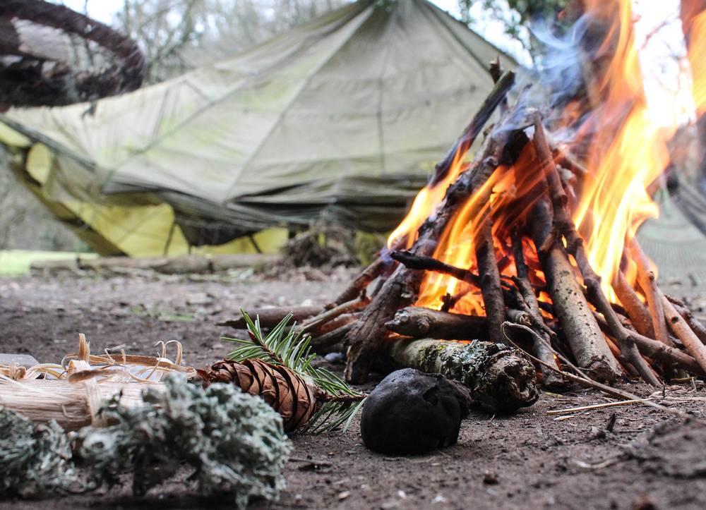 Fire in encampment