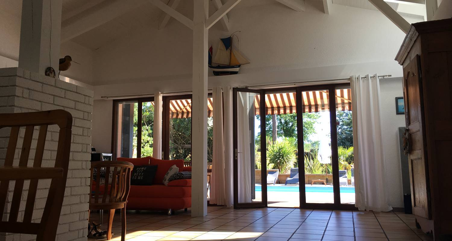 Furnished accommodation: charming house with pool under the pines in biscarrosse-plage (123209)