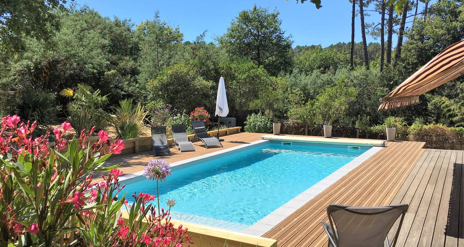 Furnished accommodation: charming house with pool under the pines in biscarrosse-plage (123203)