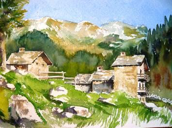 Stage croquis et aquarelle en vallée d'Aoste. Italie