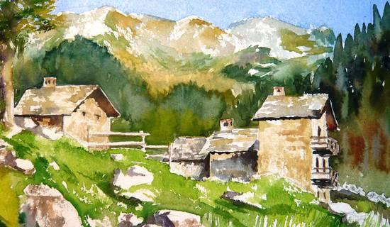 Stage croquis et aquarelle en vallée d'Aoste. Italie foto