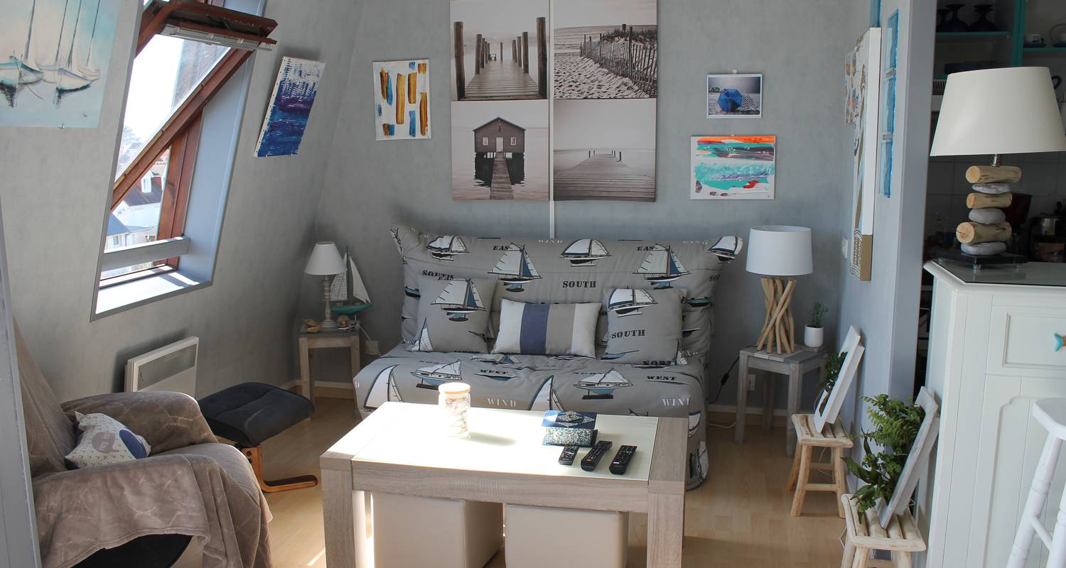 Hotel residence: sunny cosy duplex flat direct juno beach access in bernières-sur-mer (129042)